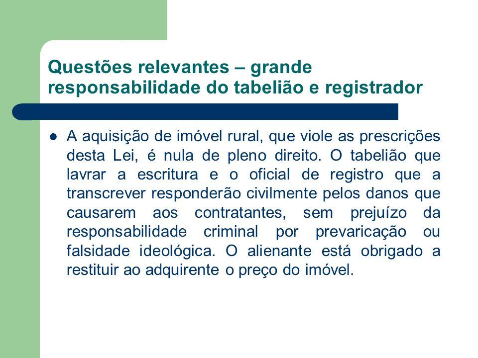 Questões relevantes – grande responsabilidade do tabelião e registrador A aquisição de imóvel rural, que viole as prescrições desta Lei, é nula de ple