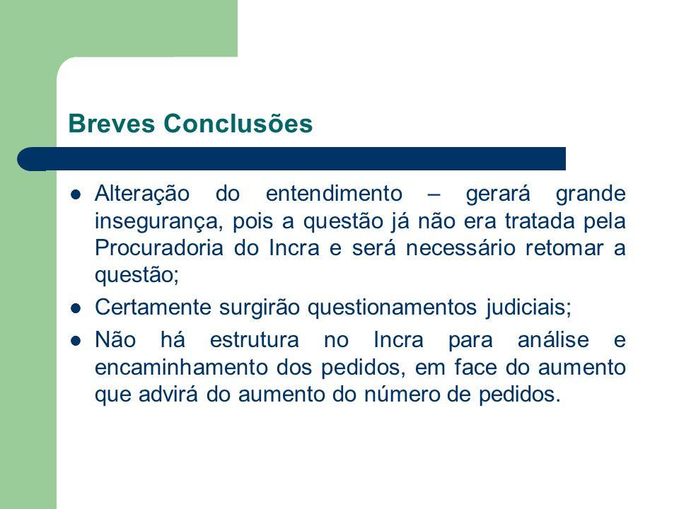 Breves Conclusões Alteração do entendimento – gerará grande insegurança, pois a questão já não era tratada pela Procuradoria do Incra e será necessári