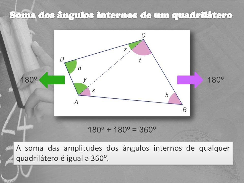 A soma das amplitudes dos ângulos internos de qualquer quadrilátero é igual a 360 º. A soma das amplitudes dos ângulos internos de qualquer quadriláte