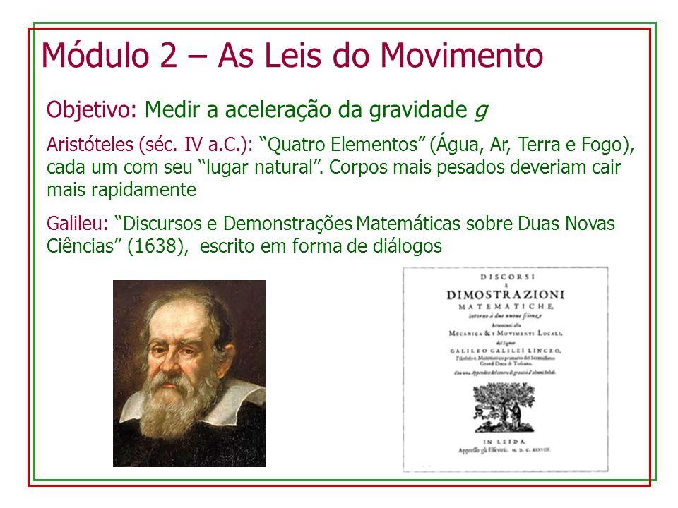 Módulo 2 – As Leis do Movimento Objetivo: Medir a aceleração da gravidade g Aristóteles (séc. IV a.C.): Quatro Elementos (Água, Ar, Terra e Fogo), cad