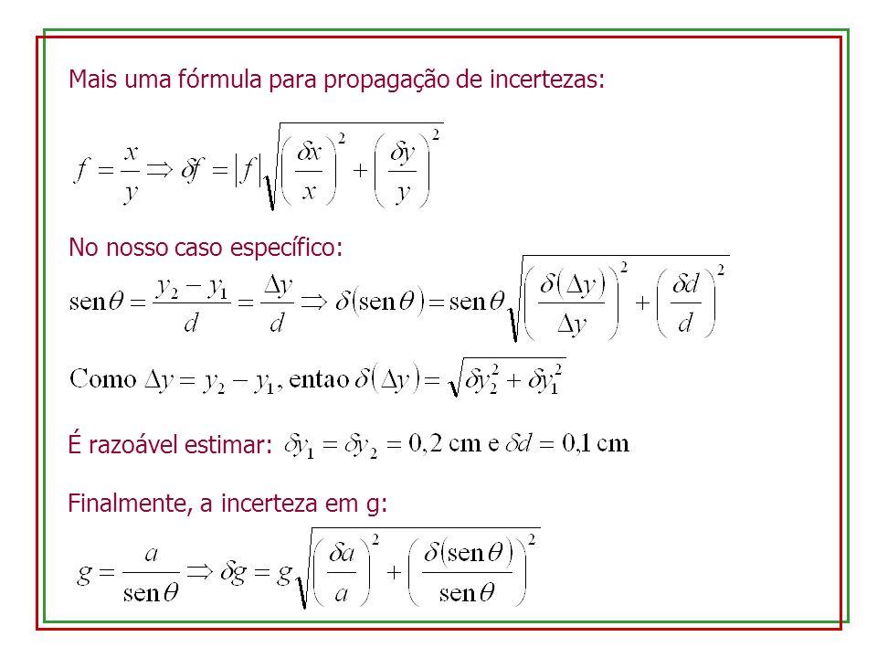 Mais uma fórmula para propagação de incertezas: No nosso caso específico: É razoável estimar: Finalmente, a incerteza em g: