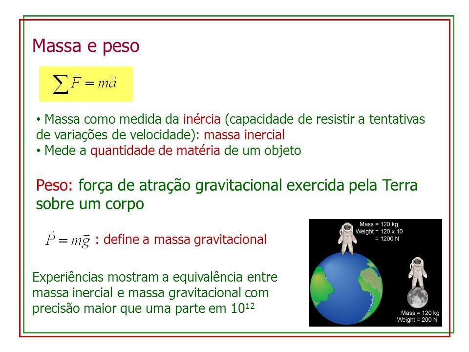 Massa e peso Massa como medida da inércia (capacidade de resistir a tentativas de variações de velocidade): massa inercial Mede a quantidade de matéri