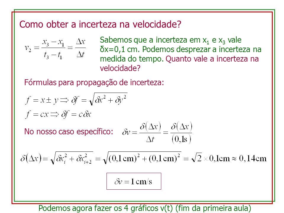 Como obter a incerteza na velocidade? Sabemos que a incerteza em x 1 e x 3 vale δx=0,1 cm. Podemos desprezar a incerteza na medida do tempo. Quanto va