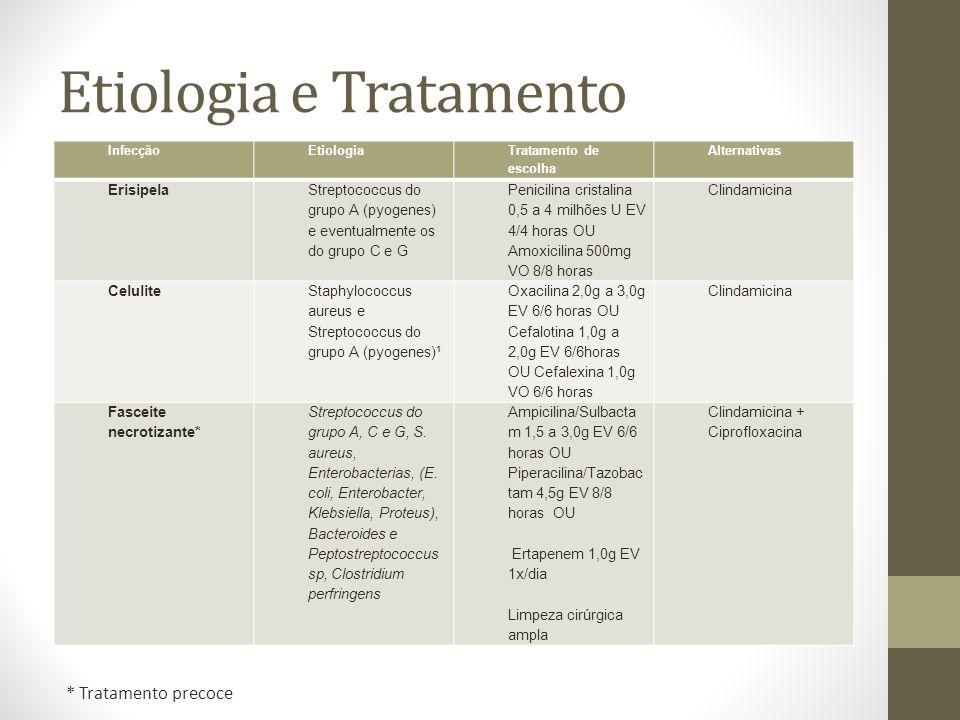 Etiologia e Tratamento InfecçãoEtiologia Tratamento de escolha Alternativas Erisipela Streptococcus do grupo A (pyogenes) e eventualmente os do grupo