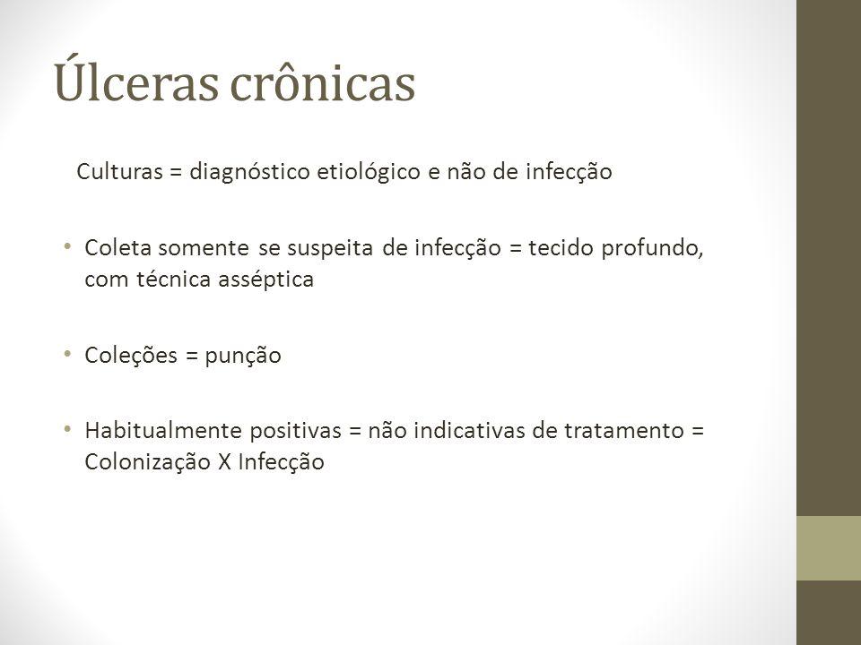 Úlceras crônicas Culturas = diagnóstico etiológico e não de infecção Coleta somente se suspeita de infecção = tecido profundo, com técnica asséptica C