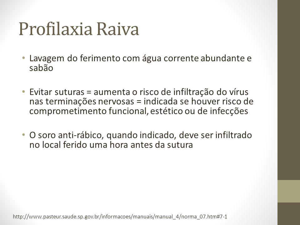 Profilaxia Raiva Lavagem do ferimento com água corrente abundante e sabão Evitar suturas = aumenta o risco de infiltração do vírus nas terminações ner