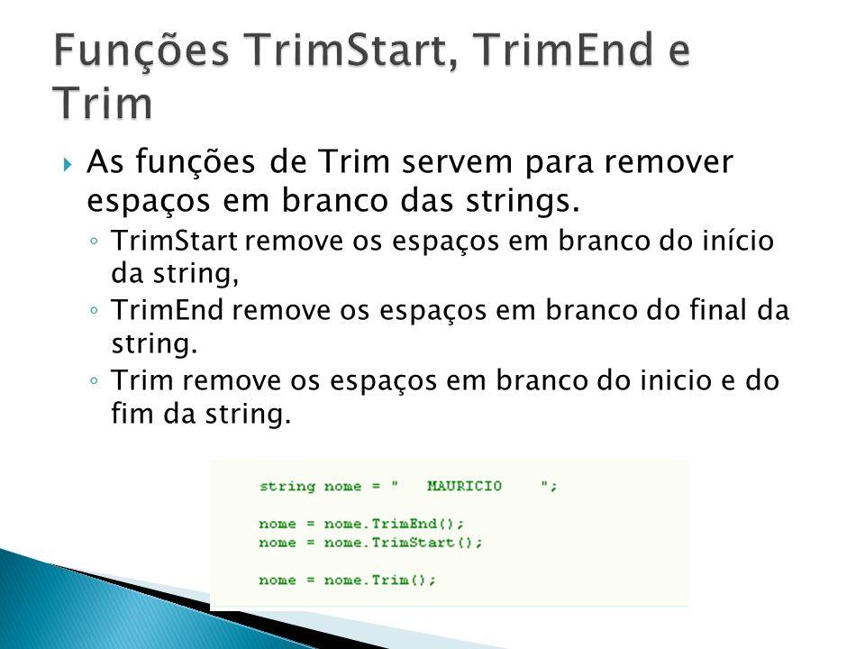 As funções de Trim servem para remover espaços em branco das strings.