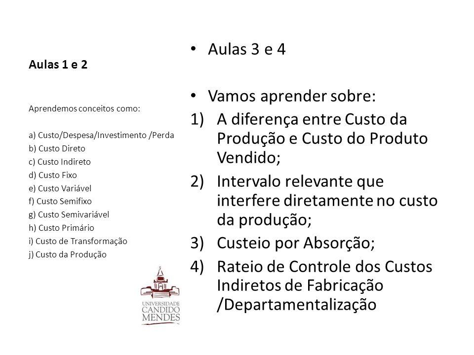 Aulas 1 e 2 Aulas 3 e 4 Vamos aprender sobre: 1)A diferença entre Custo da Produção e Custo do Produto Vendido; 2)Intervalo relevante que interfere di