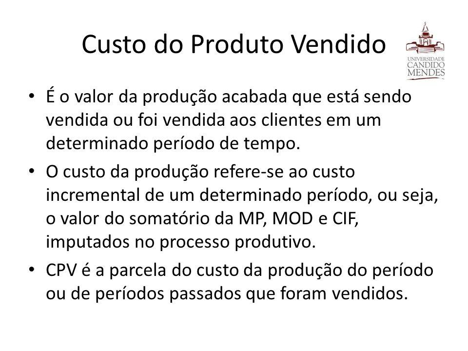 Custo do Produto Vendido É o valor da produção acabada que está sendo vendida ou foi vendida aos clientes em um determinado período de tempo. O custo