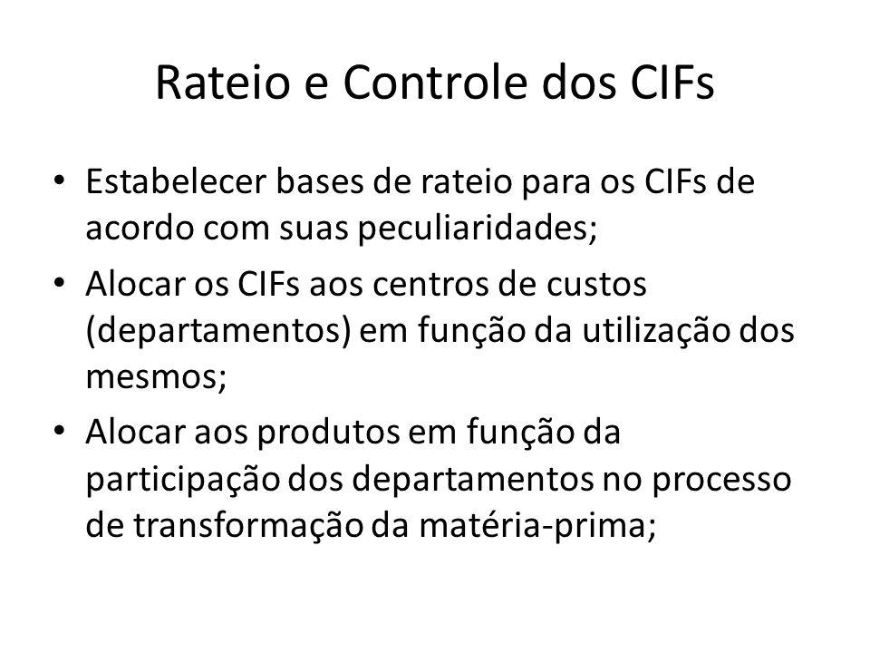 Rateio e Controle dos CIFs Estabelecer bases de rateio para os CIFs de acordo com suas peculiaridades; Alocar os CIFs aos centros de custos (departame