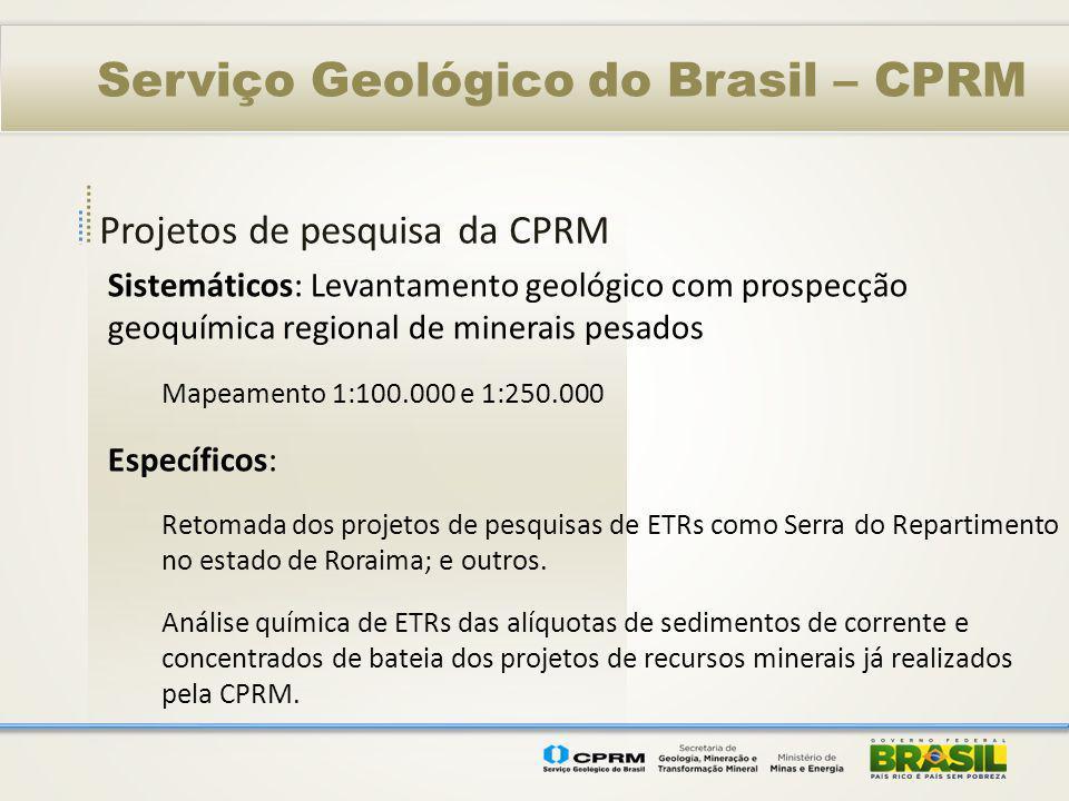 Projetos de pesquisa da CPRM Serviço Geológico do Brasil – CPRM Sistemáticos: Levantamento geológico com prospecção geoquímica regional de minerais pe