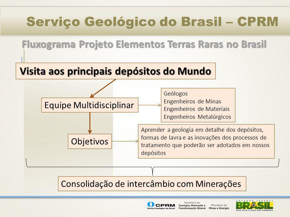 Serviço Geológico do Brasil – CPRM Visita aos principais depósitos do Mundo Equipe Multidisciplinar Objetivos Consolidação de intercâmbio com Mineraçõ