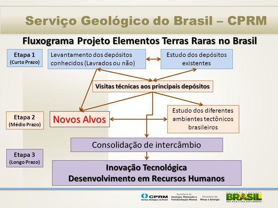 Serviço Geológico do Brasil – CPRM Levantamento dos depósitos conhecidos (Lavrados ou não) Estudo dos depósitos existentes Fluxograma Projeto Elemento