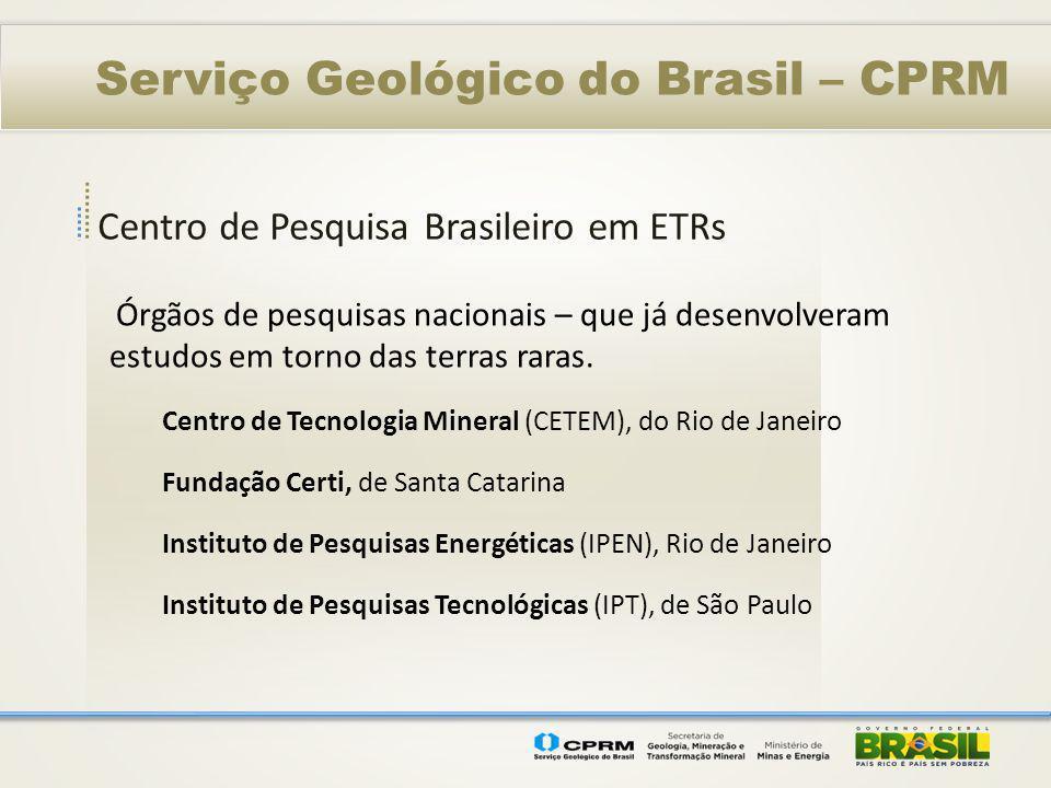 Centro de Pesquisa Brasileiro em ETRs Serviço Geológico do Brasil – CPRM Órgãos de pesquisas nacionais – que já desenvolveram estudos em torno das ter