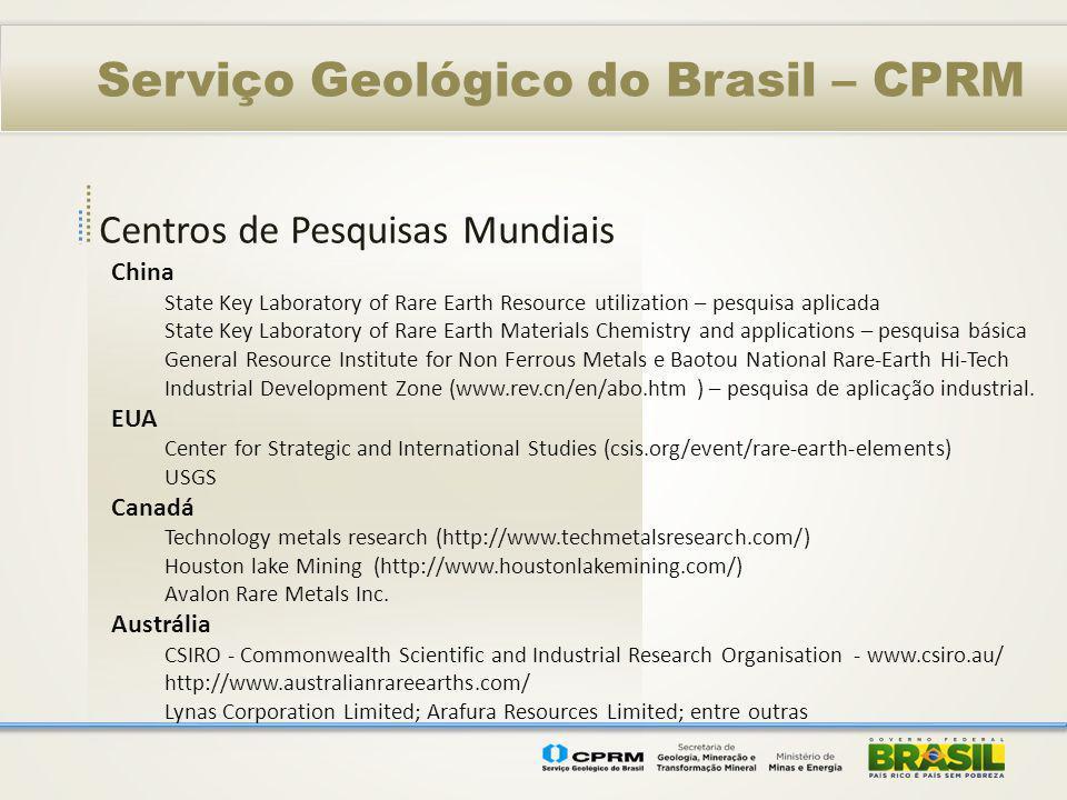 Centros de Pesquisas Mundiais Serviço Geológico do Brasil – CPRM China State Key Laboratory of Rare Earth Resource utilization – pesquisa aplicada Sta