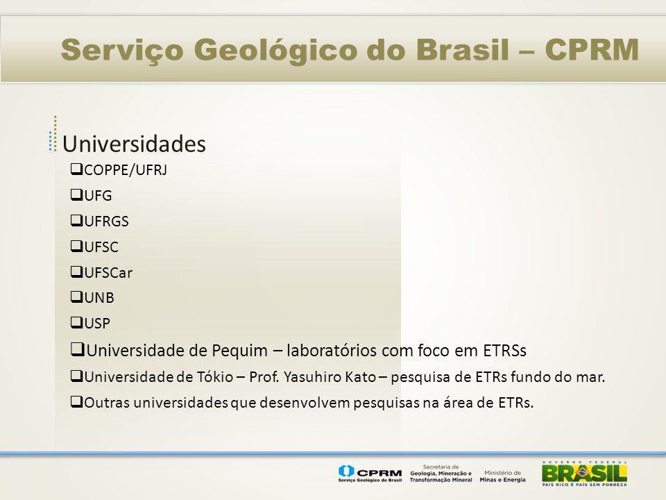 Universidades Serviço Geológico do Brasil – CPRM COPPE/UFRJ UFG UFRGS UFSC UFSCar UNB USP Universidade de Pequim – laboratórios com foco em ETRSs Univ