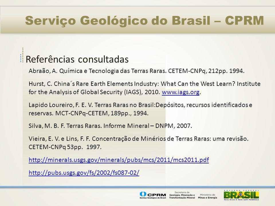 Referências consultadas Serviço Geológico do Brasil – CPRM Abraão, A. Química e Tecnologia das Terras Raras. CETEM-CNPq, 212pp. 1994. Hurst, C. China´