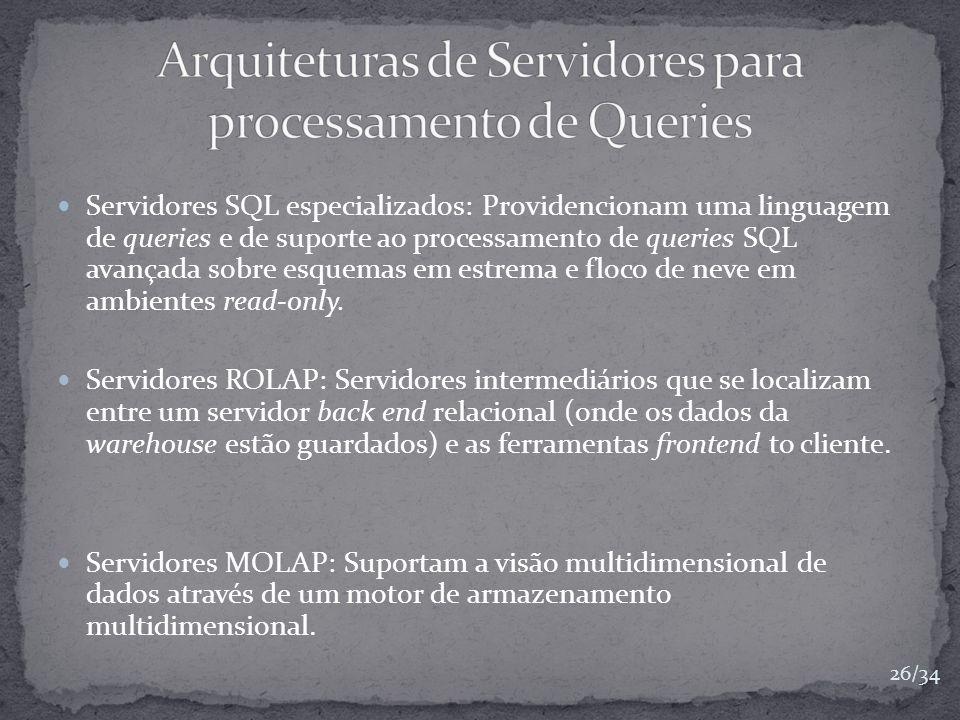 Servidores SQL especializados: Providencionam uma linguagem de queries e de suporte ao processamento de queries SQL avançada sobre esquemas em estrema