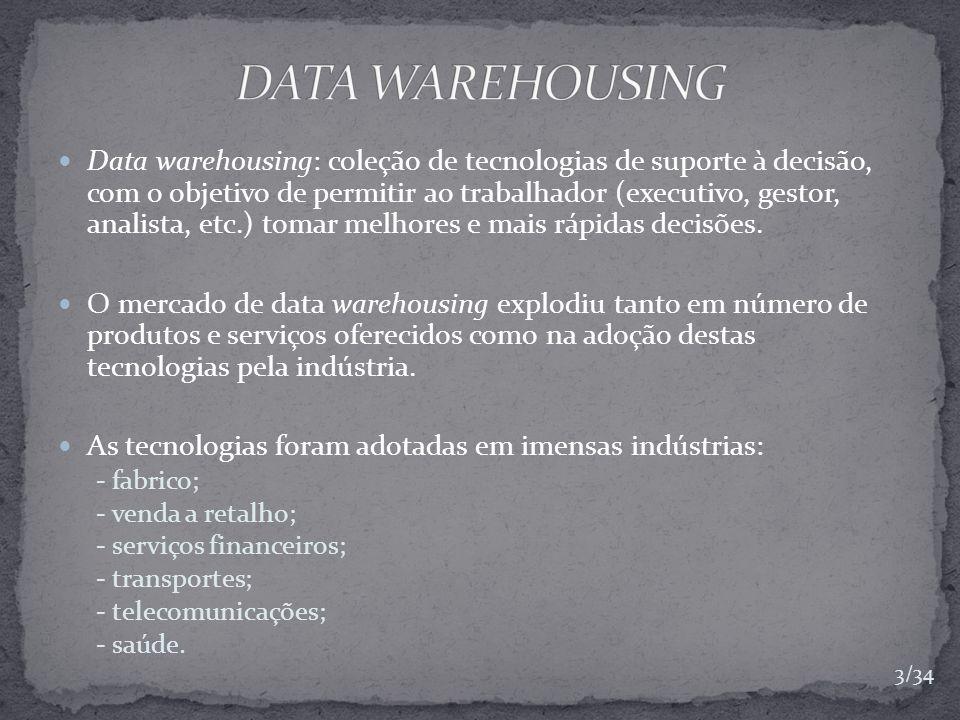 Data warehouse: é uma coleção de dados não volátil, que varia no tempo, integrada e orientada para o utilizador que é usada primeiramente na tomada de decisão organizacional.