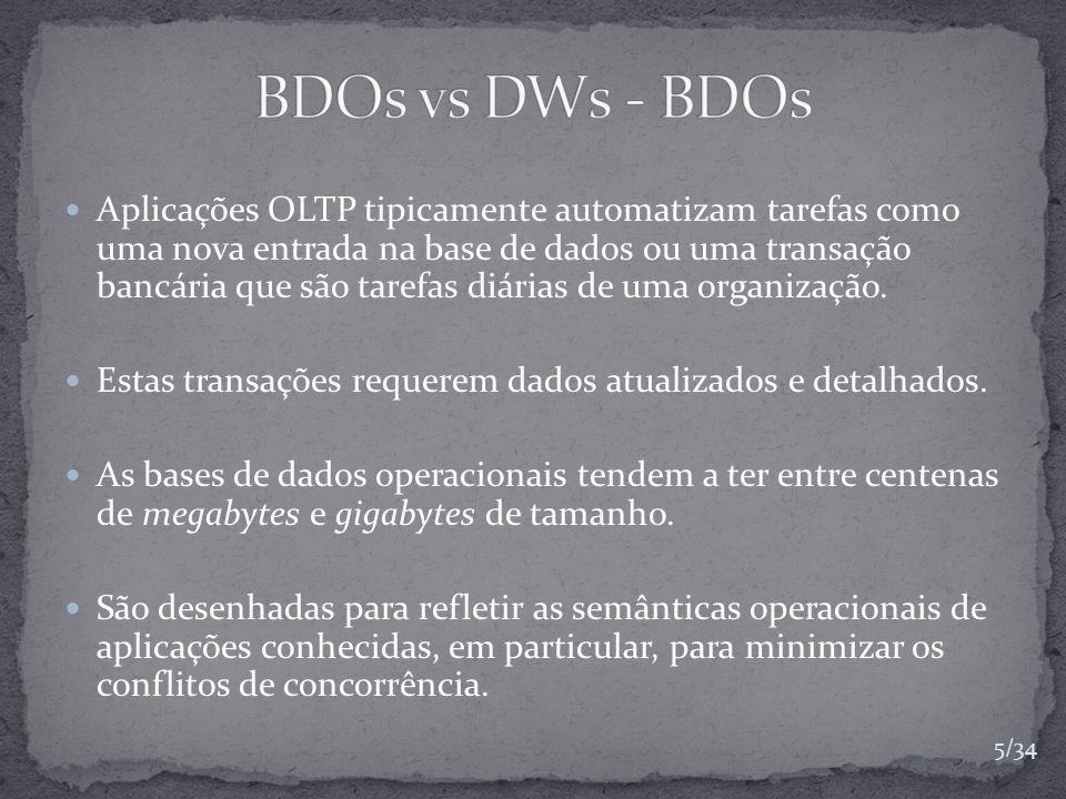 Aplicações OLTP tipicamente automatizam tarefas como uma nova entrada na base de dados ou uma transação bancária que são tarefas diárias de uma organi