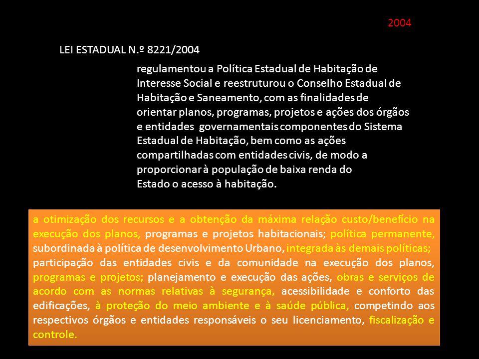 2004 LEI ESTADUAL N.º 8221/2004 regulamentou a Política Estadual de Habitação de Interesse Social e reestruturou o Conselho Estadual de Habitação e Sa