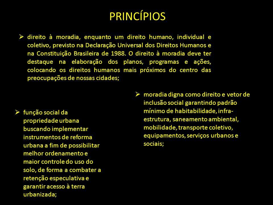PRINCÍPIOS direito à moradia, enquanto um direito humano, individual e coletivo, previsto na Declaração Universal dos Direitos Humanos e na Constituiç