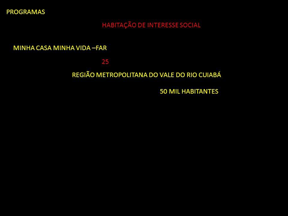 PROGRAMAS MINHA CASA MINHA VIDA –FAR 25 REGIÃO METROPOLITANA DO VALE DO RIO CUIABÁ 50 MIL HABITANTES HABITAÇÃO DE INTERESSE SOCIAL