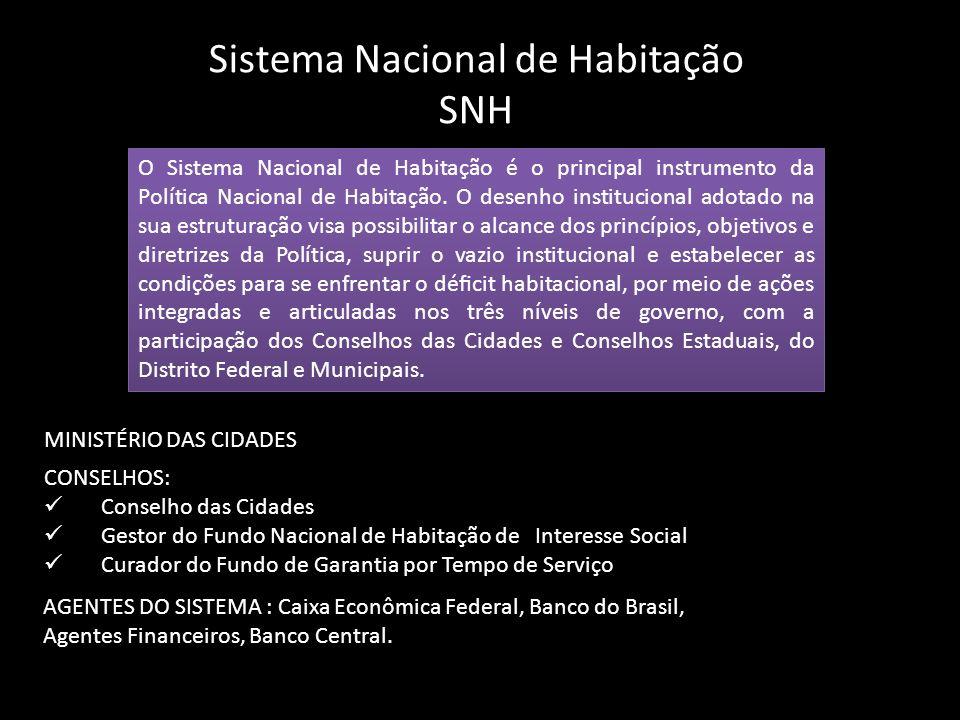 Sistema Nacional de Habitação SNH O Sistema Nacional de Habitação é o principal instrumento da Política Nacional de Habitação. O desenho institucional