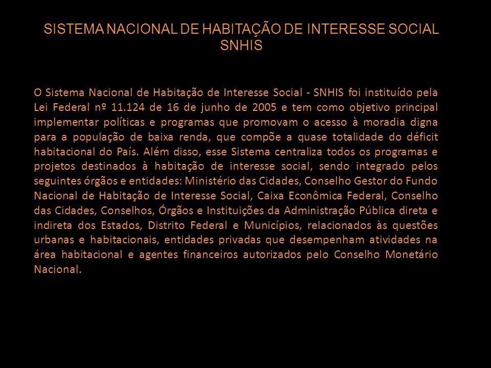 SISTEMA NACIONAL DE HABITAÇÃO DE INTERESSE SOCIAL SNHIS O Sistema Nacional de Habitação de Interesse Social - SNHIS foi instituído pela Lei Federal nº