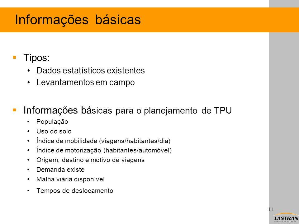 Informações básicas Tipos: Dados estatísticos existentes Levantamentos em campo Informações bá sicas para o planejamento de TPU População Uso do solo