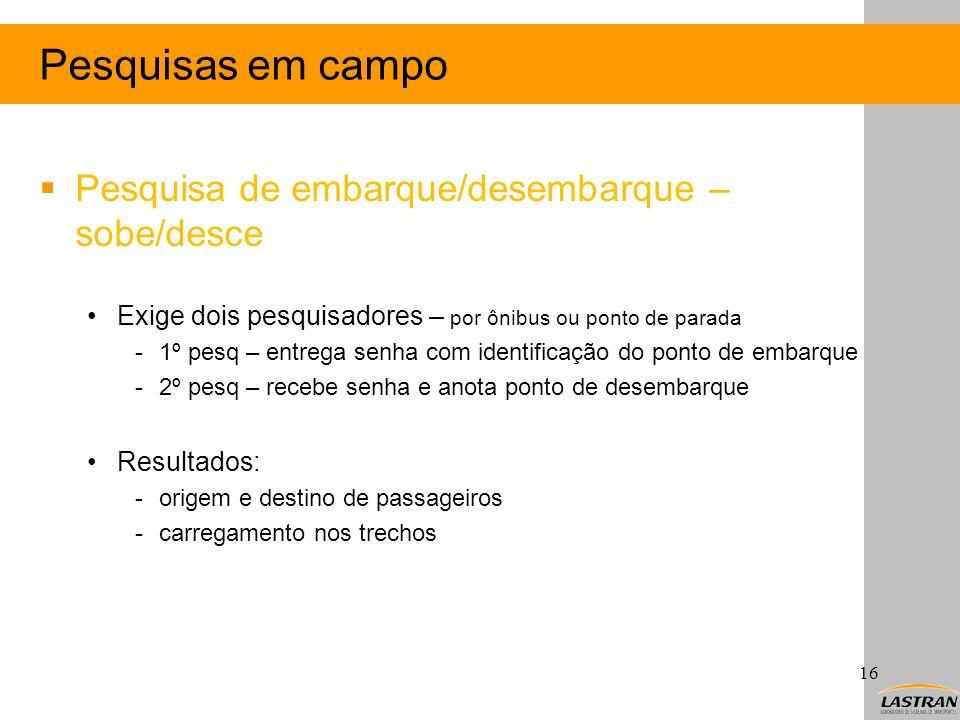 Pesquisas em campo Pesquisa de embarque/desembarque – sobe/desce Exige dois pesquisadores – por ônibus ou ponto de parada -1º pesq – entrega senha com