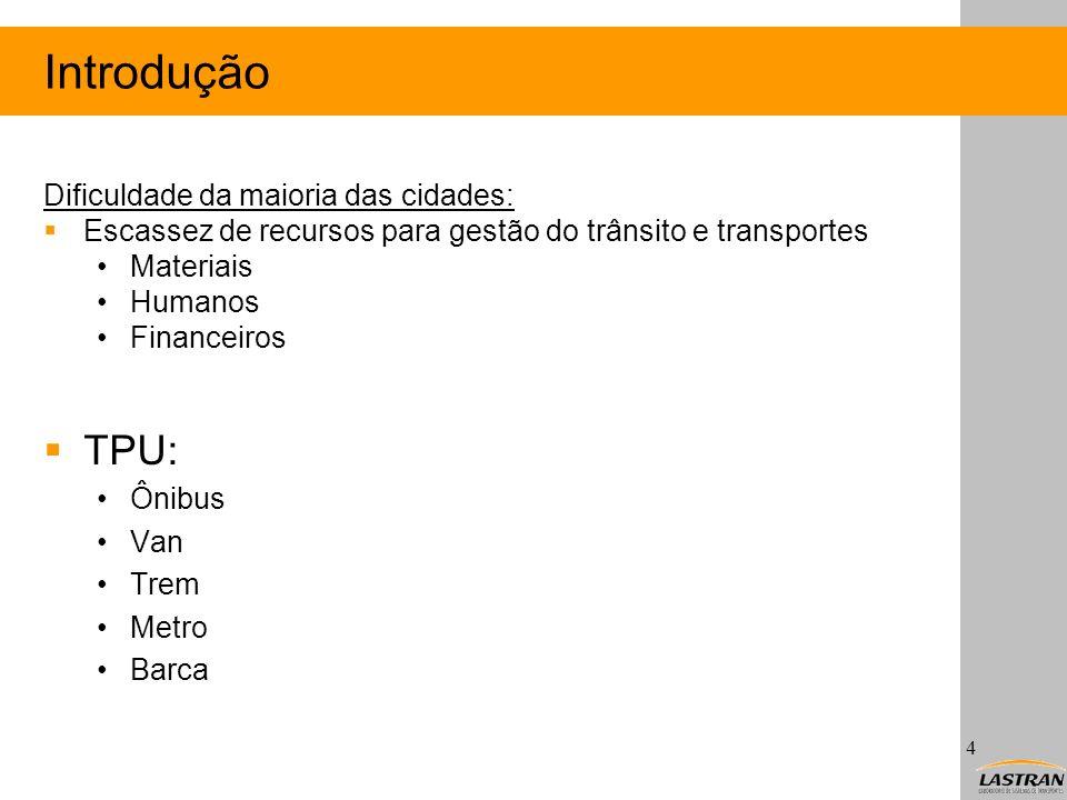 Introdução Dificuldade da maioria das cidades: Escassez de recursos para gestão do trânsito e transportes Materiais Humanos Financeiros TPU: Ônibus Va