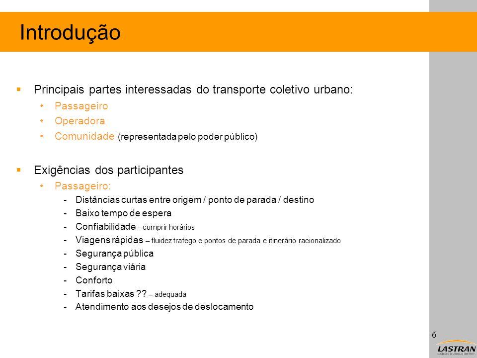 Introdução Principais partes interessadas do transporte coletivo urbano: Passageiro Operadora Comunidade (representada pelo poder público) Exigências