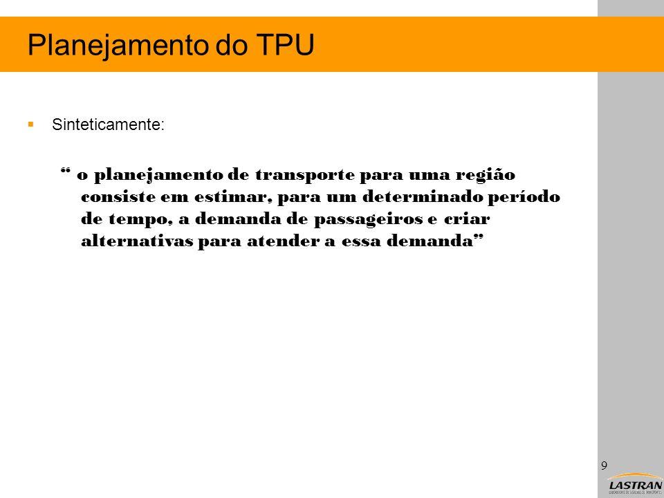 Planejamento do TPU Sinteticamente: o planejamento de transporte para uma região consiste em estimar, para um determinado período de tempo, a demanda
