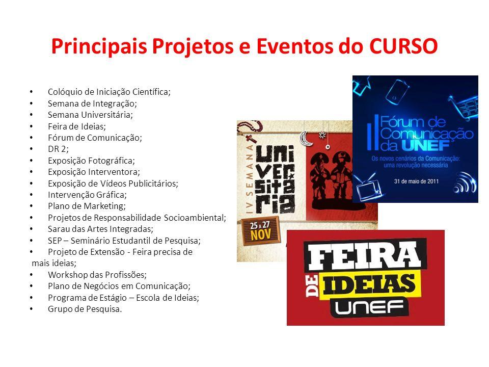 Principais Projetos e Eventos do CURSO Colóquio de Iniciação Científica; Semana de Integração; Semana Universitária; Feira de Ideias; Fórum de Comunic