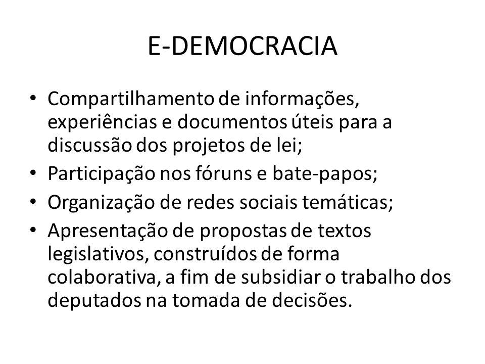 E-DEMOCRACIA Compartilhamento de informações, experiências e documentos úteis para a discussão dos projetos de lei; Participação nos fóruns e bate-papos; Organização de redes sociais temáticas; Apresentação de propostas de textos legislativos, construídos de forma colaborativa, a fim de subsidiar o trabalho dos deputados na tomada de decisões.