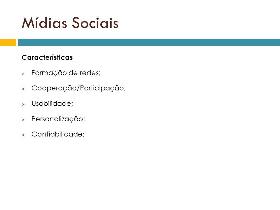 Mídias Sociais Características Formação de redes; Cooperação/Participação; Usabilidade; Personalização; Confiabilidade;