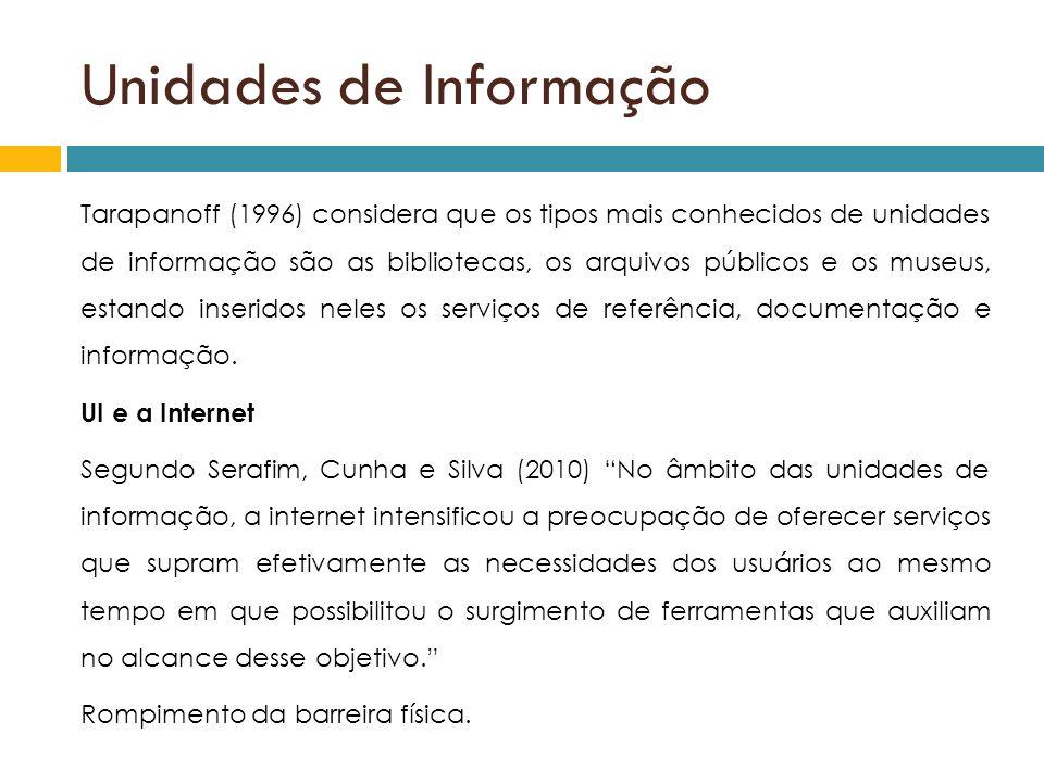Unidades de Informação Tarapanoff (1996) considera que os tipos mais conhecidos de unidades de informação são as bibliotecas, os arquivos públicos e o