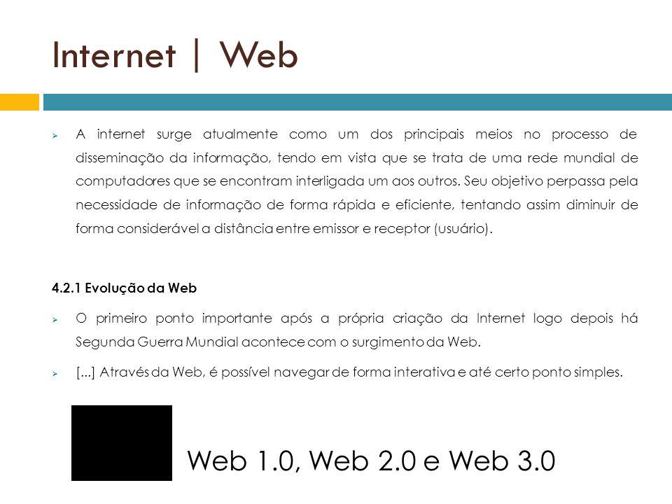 Internet | Web A internet surge atualmente como um dos principais meios no processo de disseminação da informação, tendo em vista que se trata de uma