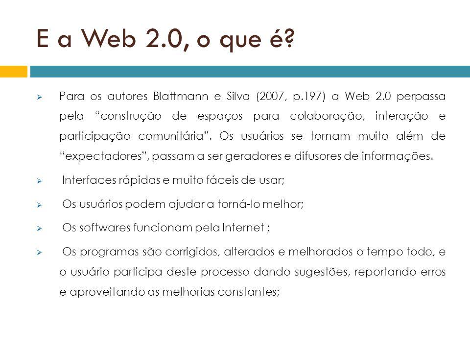 E a Web 2.0, o que é? Para os autores Blattmann e Silva (2007, p.197) a Web 2.0 perpassa pela construção de espaços para colaboração, interação e part