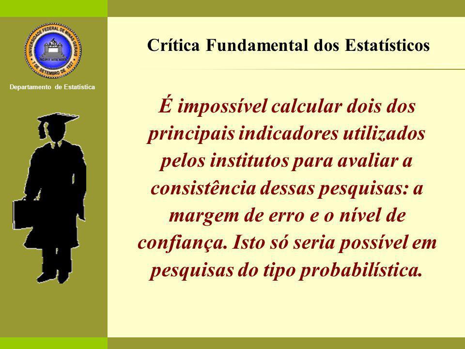 O Estatístico no Mercado de Trabalho Departamento de Estatística [3] É impossível calcular dois dos principais indicadores utilizados pelos institutos para avaliar a consistência dessas pesquisas: a margem de erro e o nível de confiança.