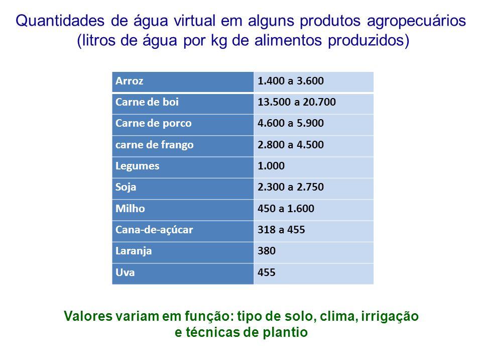 Arroz1.400 a 3.600 Carne de boi13.500 a 20.700 Carne de porco4.600 a 5.900 carne de frango2.800 a 4.500 Legumes1.000 Soja2.300 a 2.750 Milho450 a 1.600 Cana-de-açúcar318 a 455 Laranja380 Uva455 Quantidades de água virtual em alguns produtos agropecuários (litros de água por kg de alimentos produzidos) Valores variam em função: tipo de solo, clima, irrigação e técnicas de plantio