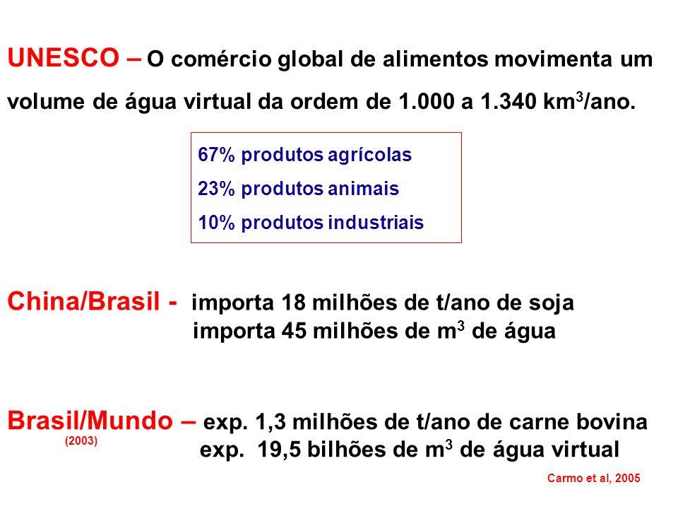 China/Brasil - importa 18 milhões de t/ano de soja importa 45 milhões de m 3 de água Brasil/Mundo – exp. 1,3 milhões de t/ano de carne bovina exp. 19,