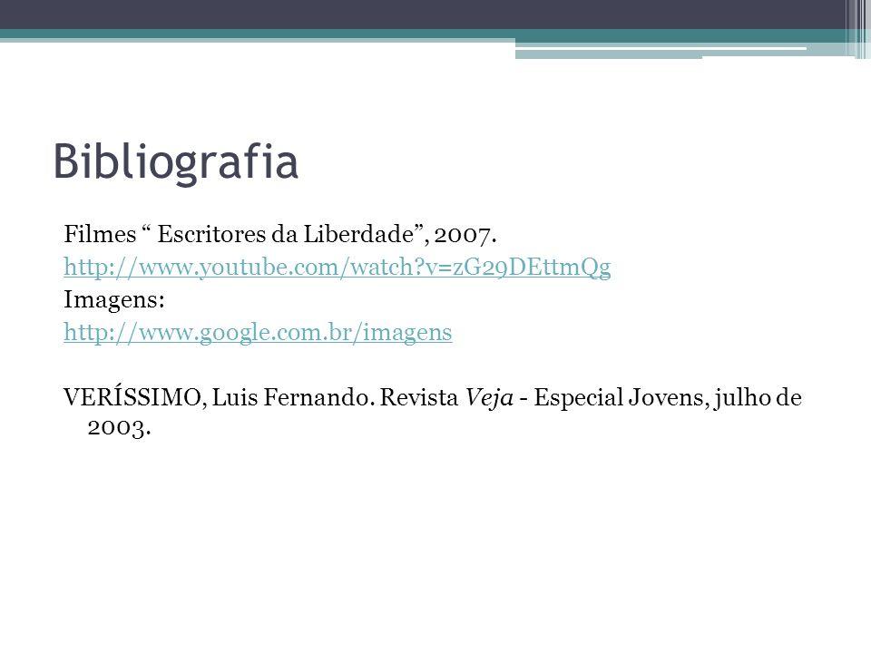 Bibliografia Filmes Escritores da Liberdade, 2007. http://www.youtube.com/watch?v=zG29DEttmQg Imagens: http://www.google.com.br/imagens VERÍSSIMO, Lui