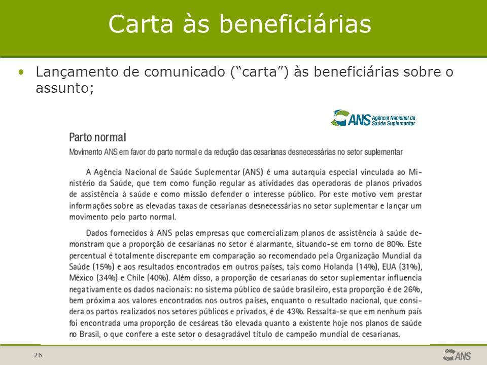 26 Carta às beneficiárias Lançamento de comunicado (carta) às beneficiárias sobre o assunto;