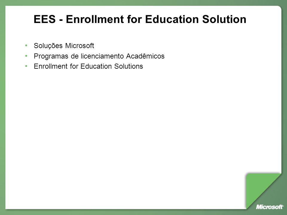 EES - Enrollment for Education Solution Soluções Microsoft Programas de licenciamento Acadêmicos Enrollment for Education Solutions