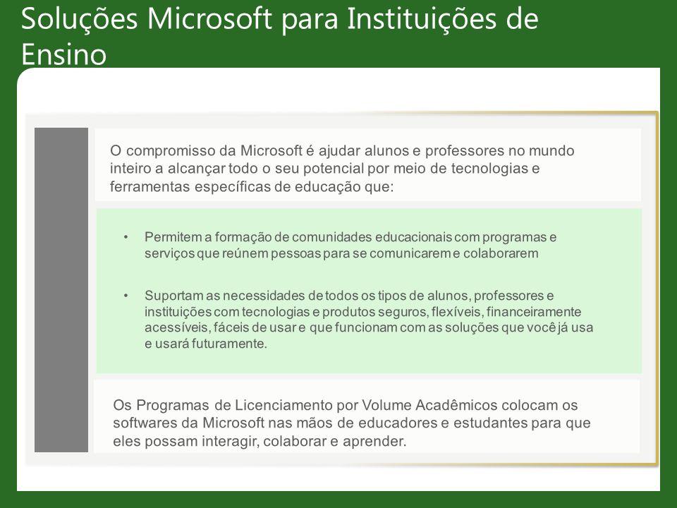 Soluções Microsoft para Instituições de Ensino O compromisso da Microsoft é ajudar alunos e professores no mundo inteiro a alcançar todo o seu potenci