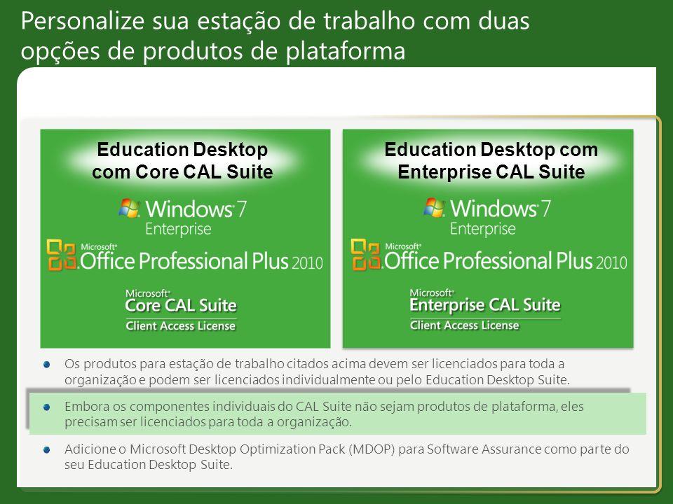 Personalize sua estação de trabalho com duas opções de produtos de plataforma Education Desktop com Core CAL Suite Education Desktop com Enterprise CA