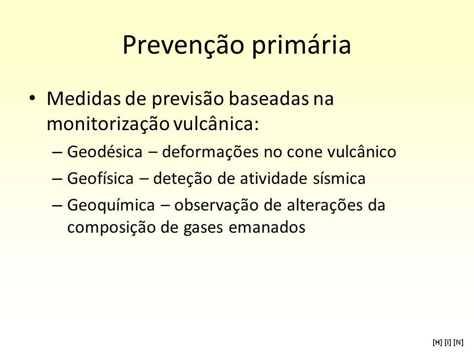 Prevenção primária Medidas de previsão baseadas na monitorização vulcânica: – Geodésica – deformações no cone vulcânico – Geofísica – deteção de ativi
