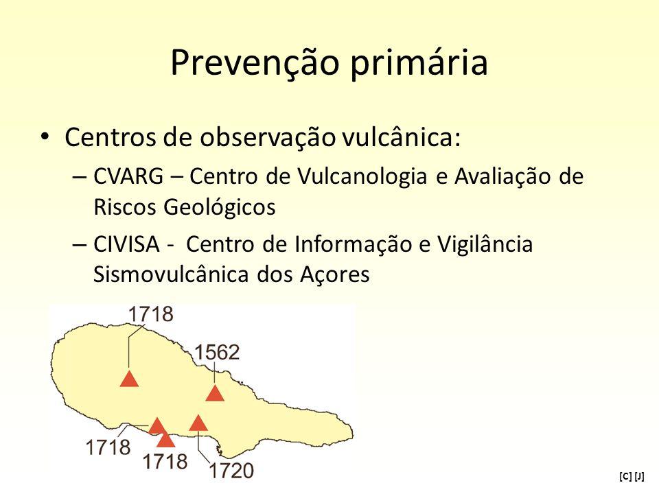 Prevenção primária Centros de observação vulcânica: – CVARG – Centro de Vulcanologia e Avaliação de Riscos Geológicos – CIVISA - Centro de Informação